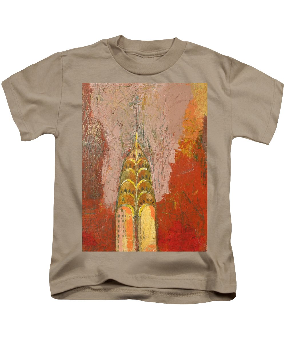 Abstract Cityscape Kids T-Shirt featuring the painting The Chrysler In Motion by Habib Ayat