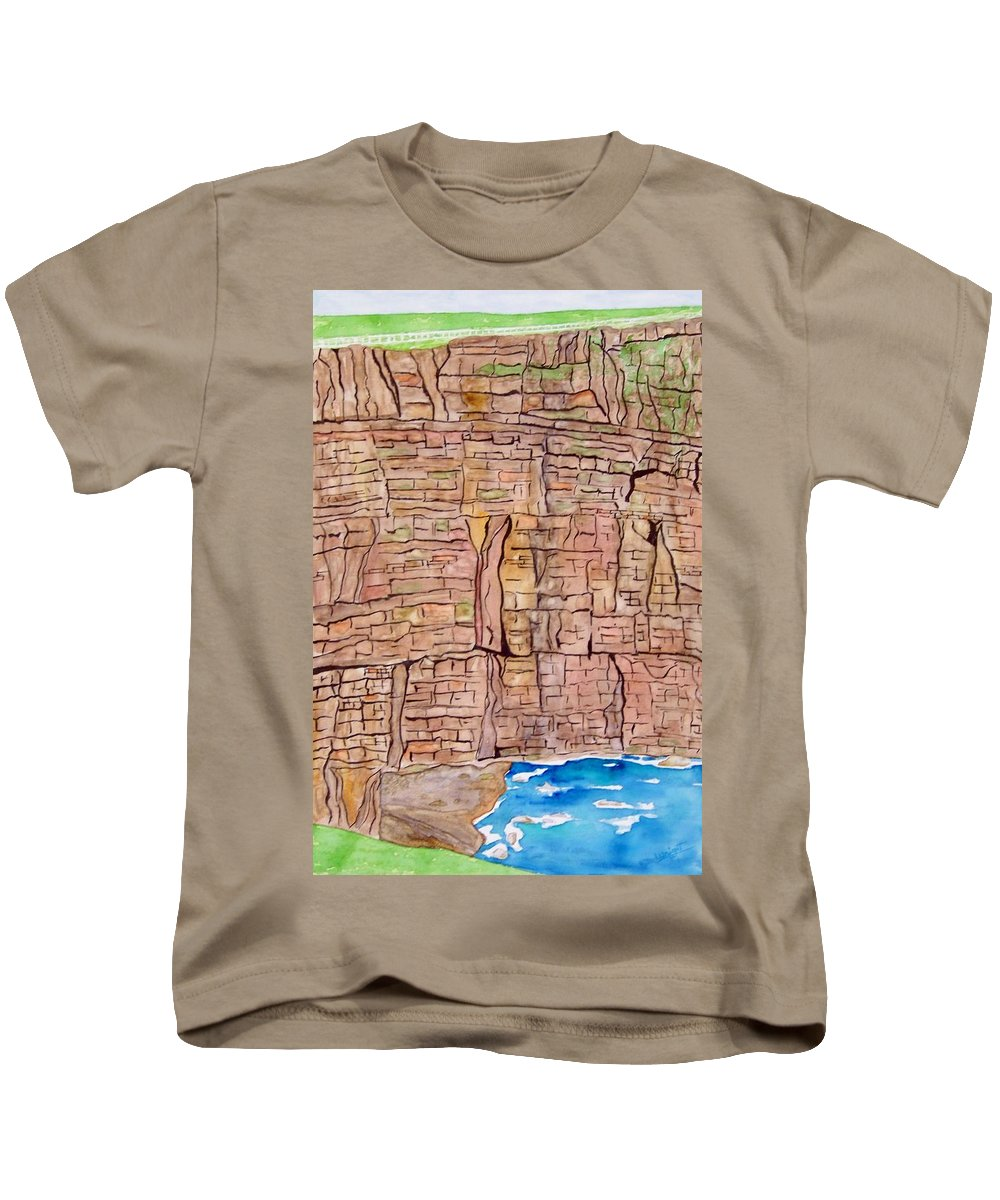 Ireland Art Kids T-Shirt featuring the painting The Cliffs Of Mohr In Ireland by Larry Wright