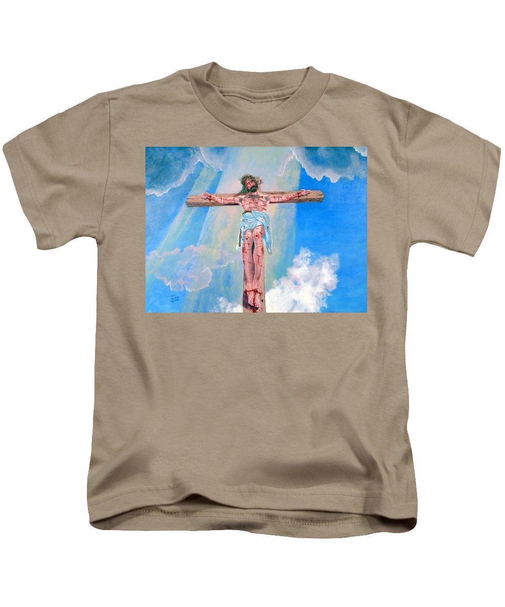 Christian Kids T-Shirt featuring the painting The Crucifixion Daytime by Stan Hamilton