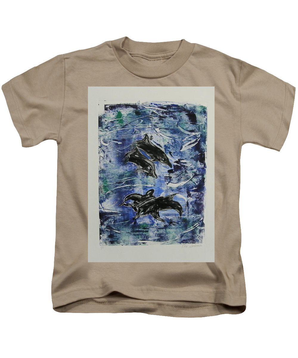 Monotype Kids T-Shirt featuring the mixed media The Deep Sea by Cori Solomon