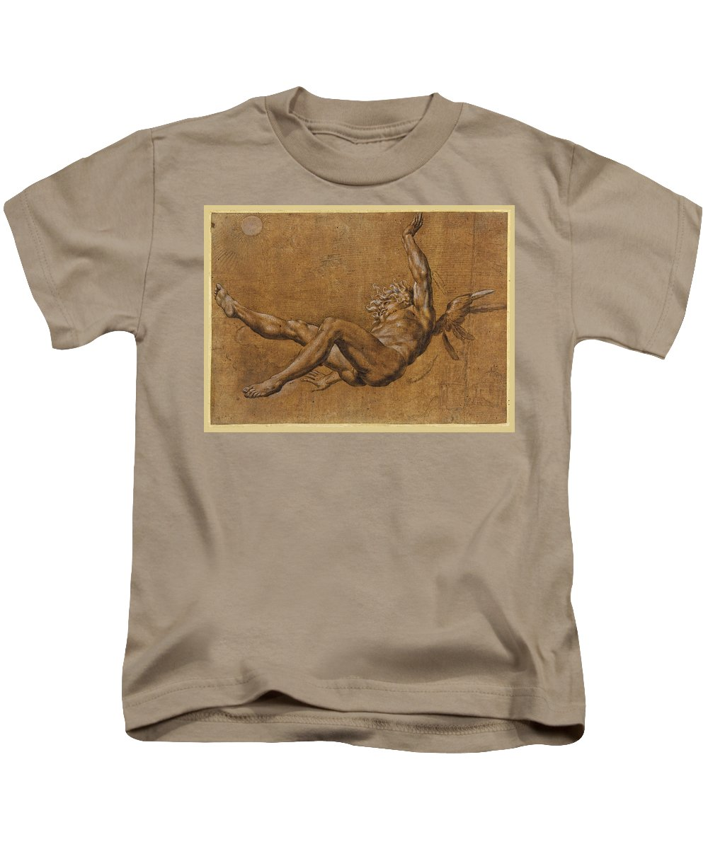 Giovanni Baglione Kids T-Shirt featuring the drawing The Fall Of Icarus by Giovanni Baglione