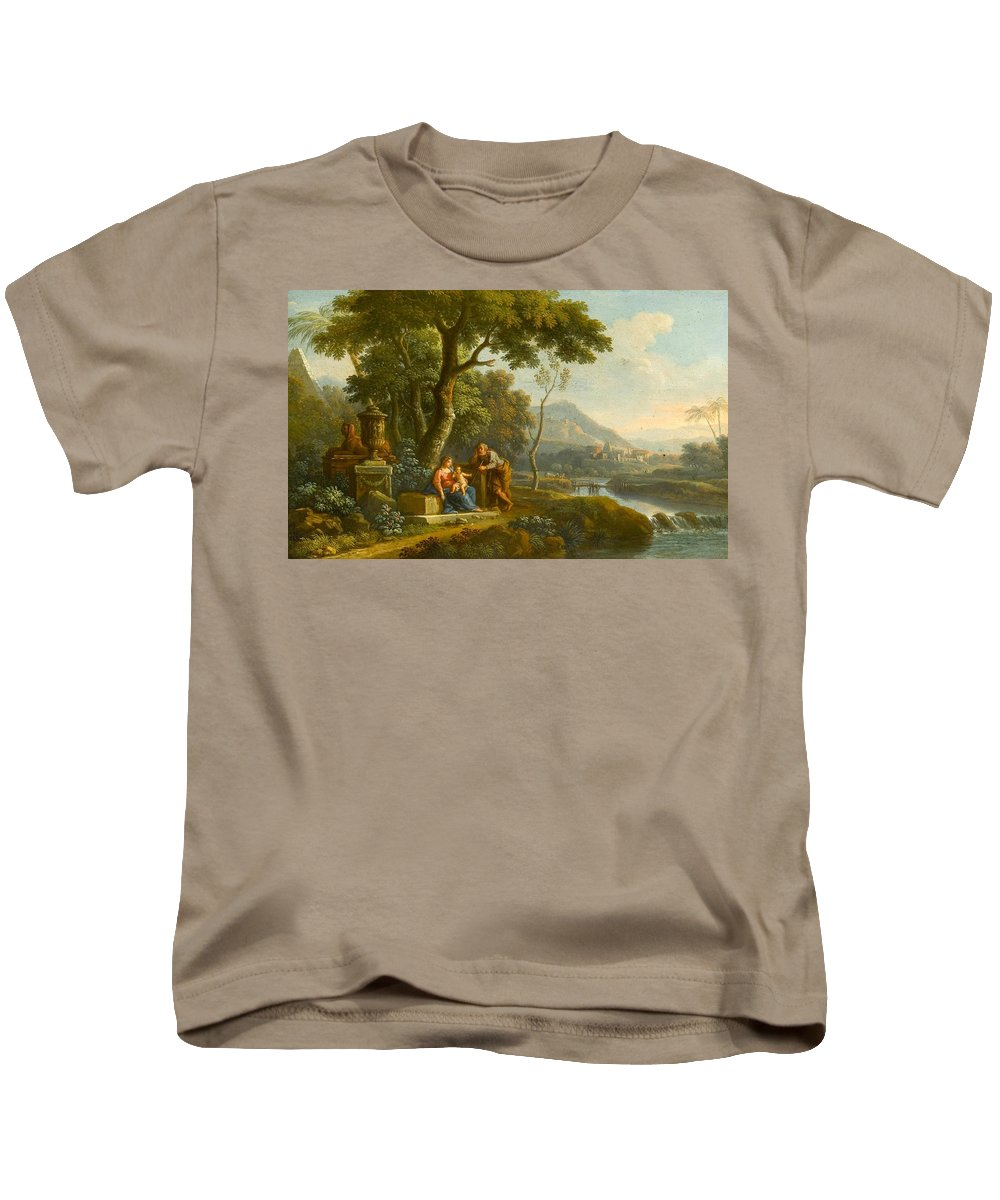 Jan Frans Van Bloemen Kids T-Shirt featuring the painting The Flight Into Egypt by Jan Frans