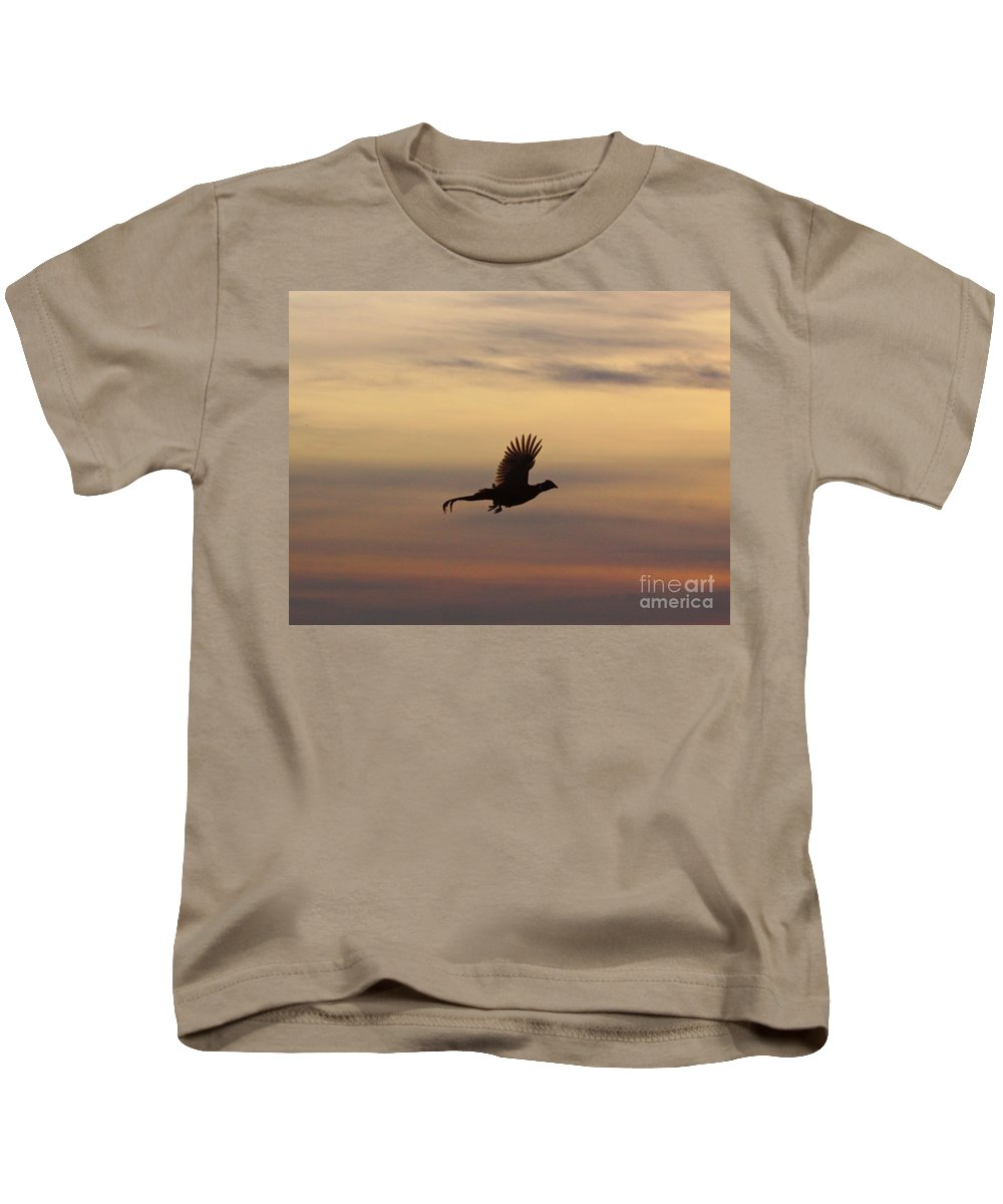 Bird Kids T-Shirt featuring the photograph The Flight Of The Michigan Phesant by Robert Pearson