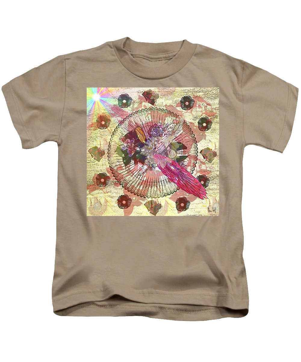 Flowers Kids T-Shirt featuring the digital art The Flowerclock by Helmut Rottler