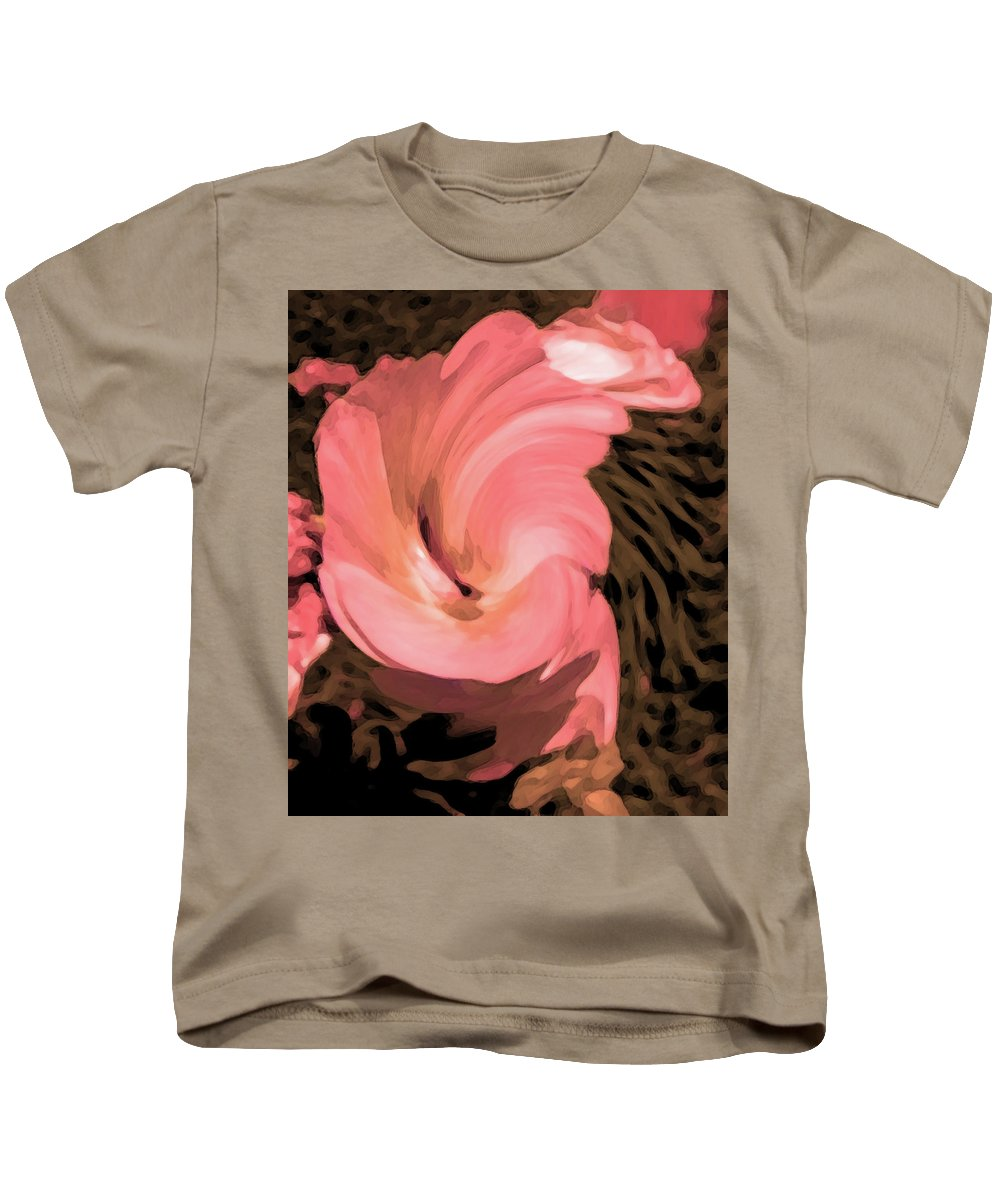 Abstract Kids T-Shirt featuring the digital art The Flowers Are Dancing by Lenore Senior