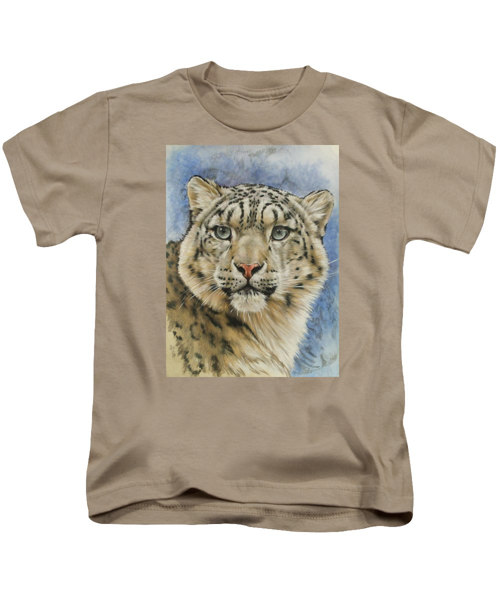 Snow Loepard Kids T-Shirt featuring the mixed media The Gaze by Barbara Keith