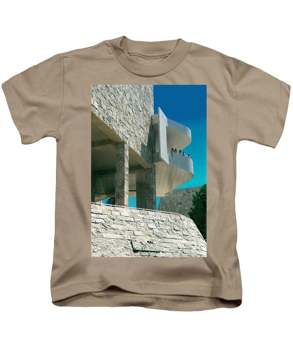 Architecture Kids T-Shirt featuring the photograph The Getty Panel Three From Triptych by Steve Karol