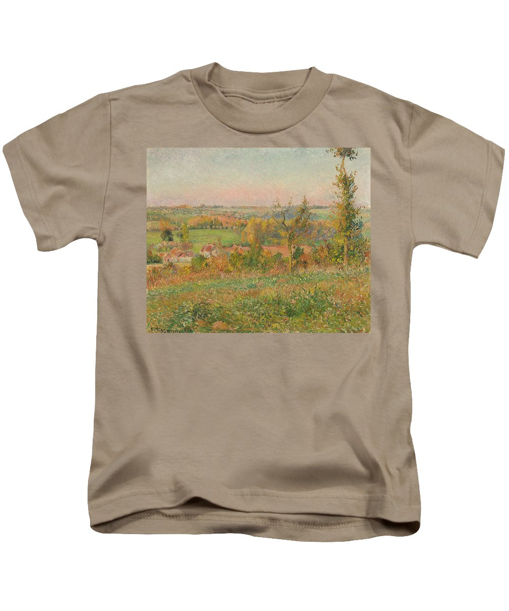 Pissarro Kids T-Shirt featuring the painting The Hills Of Thierceville Seen From The Country Lane by Camille Pissarro