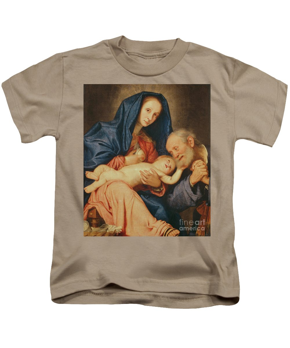 The Holy Family With A Basket Kids T-Shirt featuring the painting The Holy Family With A Basket by Il Sassoferrato