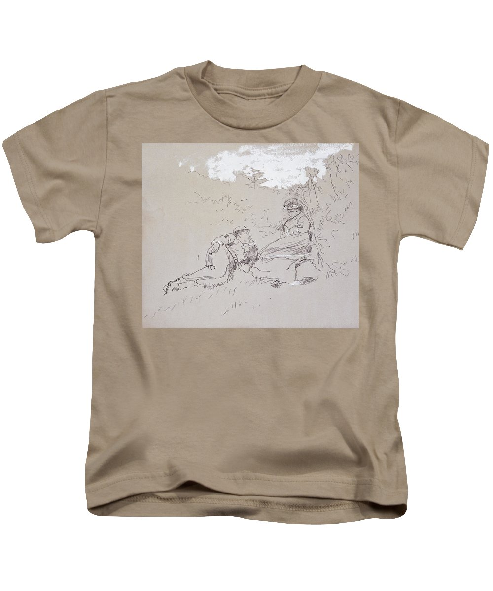 The Honeymoon Kids T-Shirt featuring the painting The Honeymoon by Winslow Homer