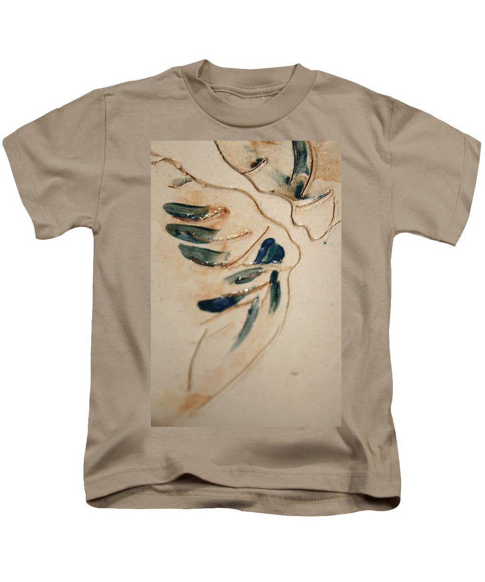Gloria Ssali Kids T-Shirt featuring the ceramic art the Kiss - tile 3 by Gloria Ssali