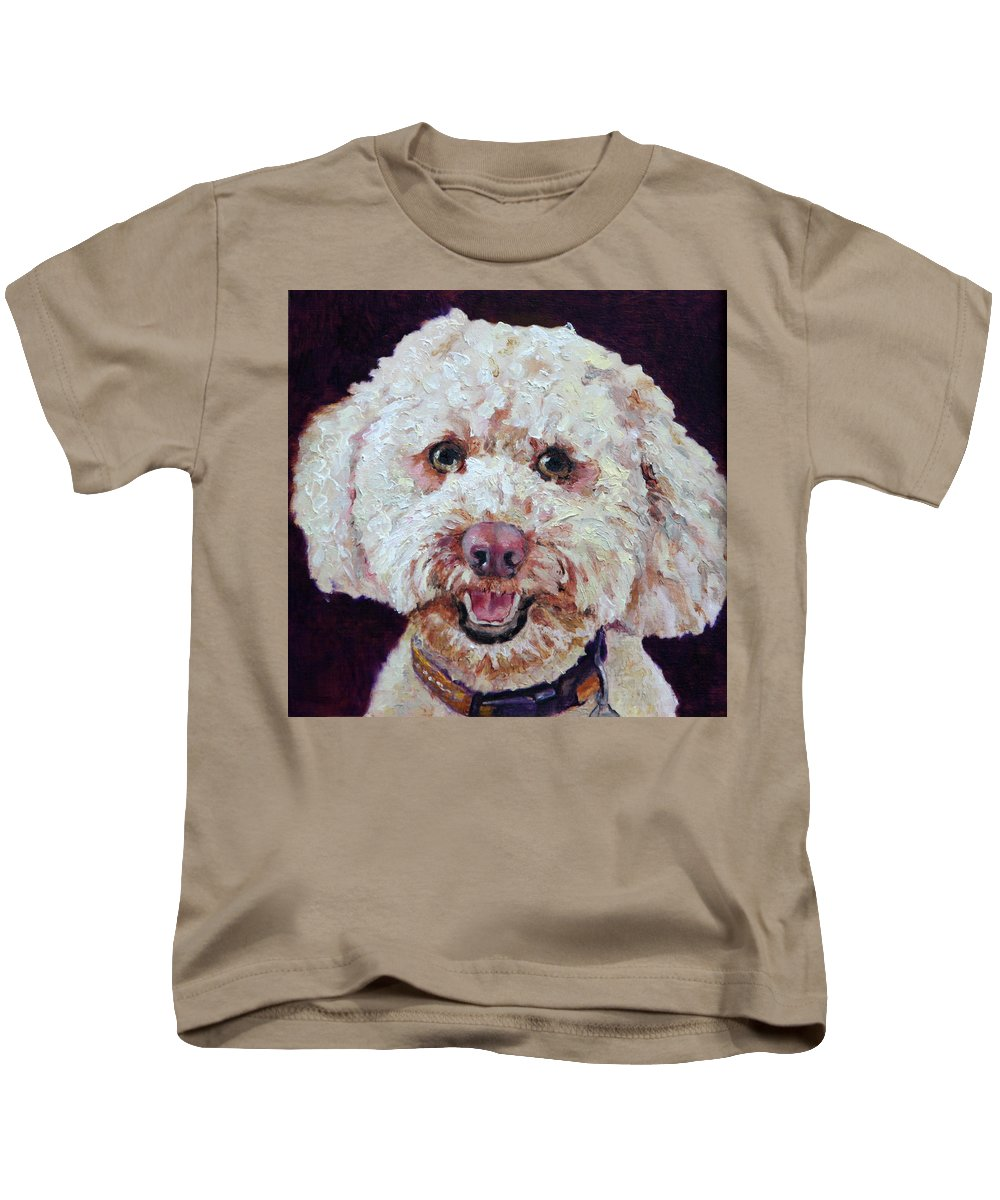 Dogs Kids T-Shirt featuring the painting The Labradoodle by Portraits By NC