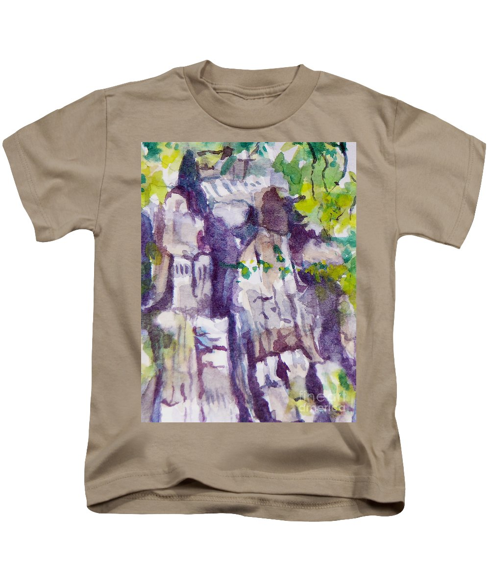 Purple Kids T-Shirt featuring the painting The Little Climbing Wall by Jan Bennicoff