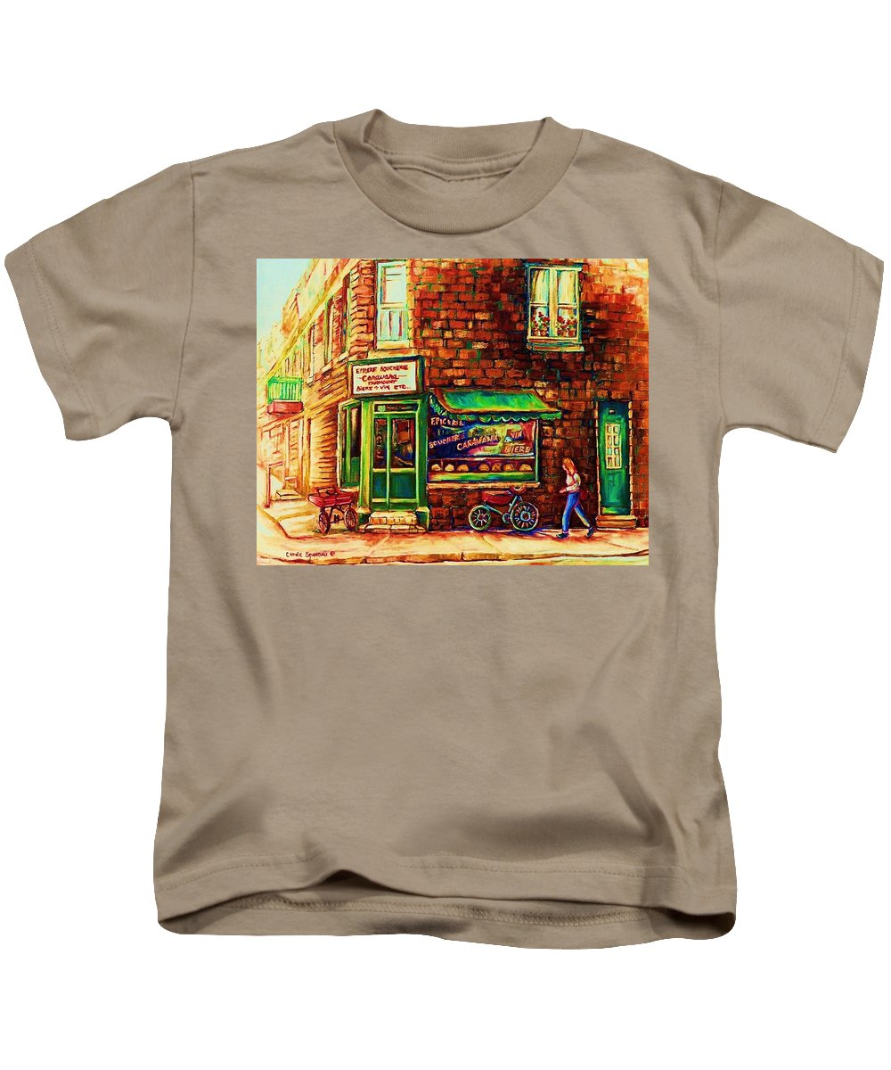 Montreal Kids T-Shirt featuring the painting The Little Red Wagon by Carole Spandau