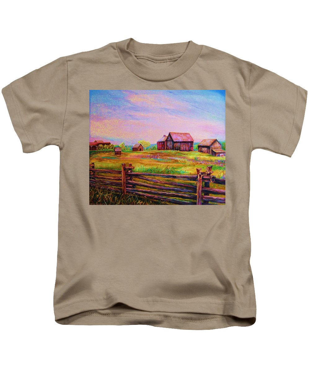 Ranches Kids T-Shirt featuring the painting The Log Fence by Carole Spandau