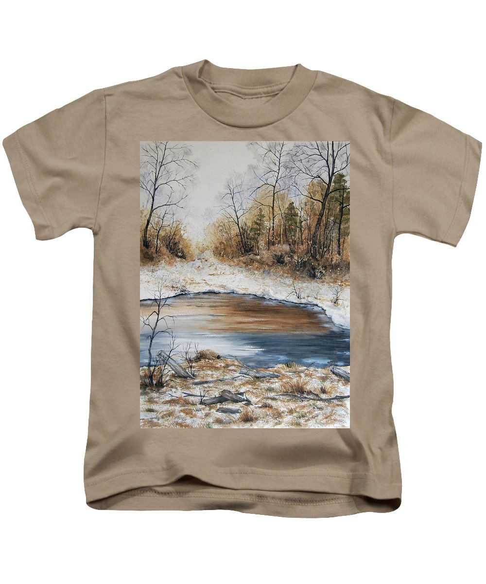 Minnesota Kids T-Shirt featuring the painting The Melting by Mary Tuomi