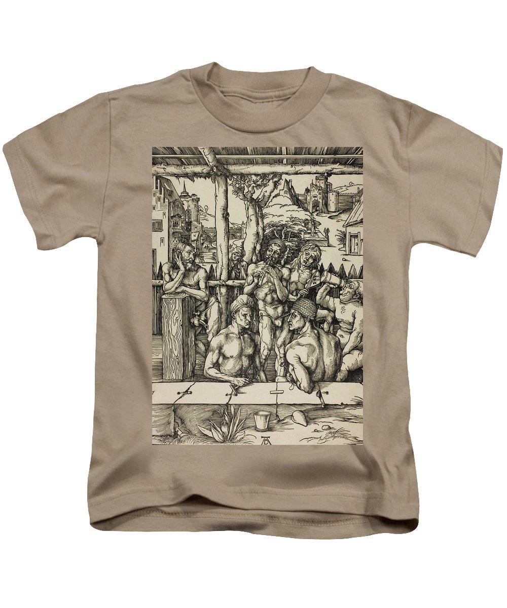Albrecht Durer Kids T-Shirt featuring the relief The Men's Bath by Albrecht Durer