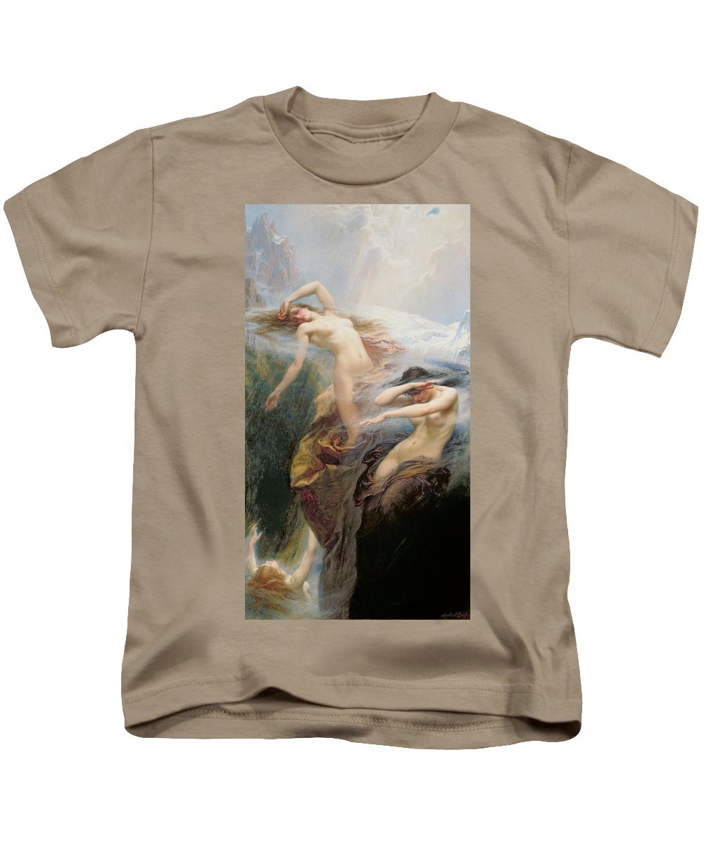 Nude Kids T-Shirt featuring the painting The Mountain Mists by Herbert James Draper