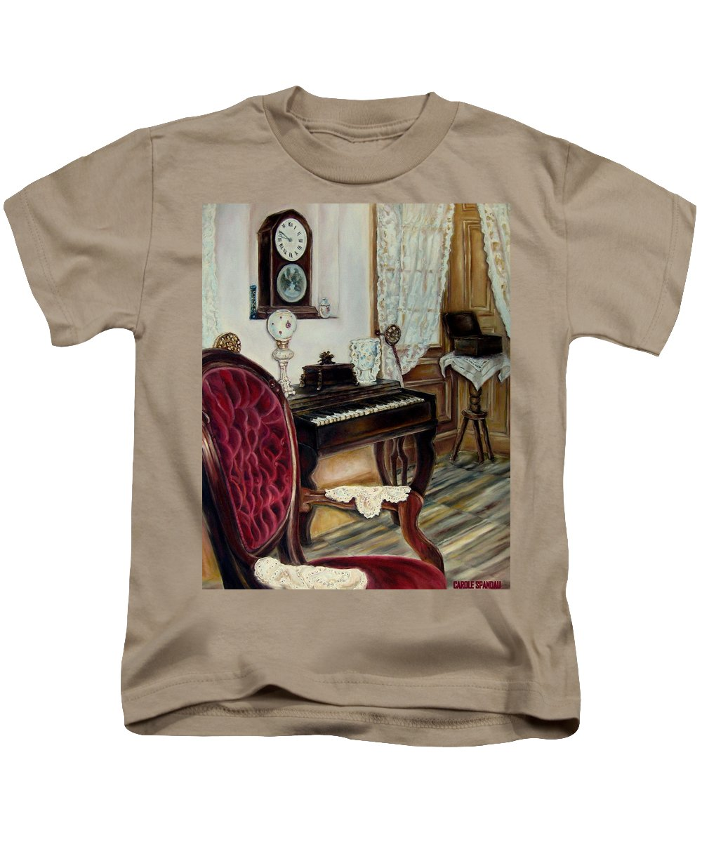 Music Kids T-Shirt featuring the painting The Music Room by Carole Spandau