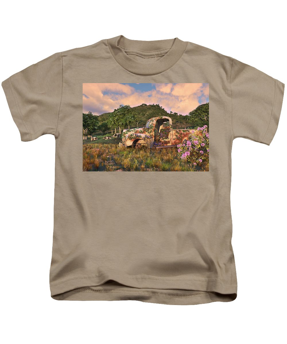 Old Farm Truck Kids T-Shirt featuring the digital art The Old Farm Truck by Mary Almond