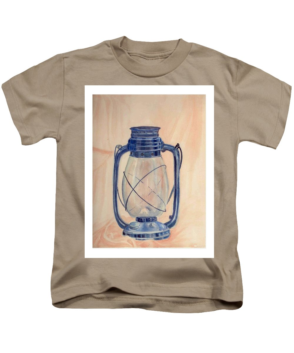 Lantern Kids T-Shirt featuring the painting The Old Lantern by Asha Sudhaker Shenoy