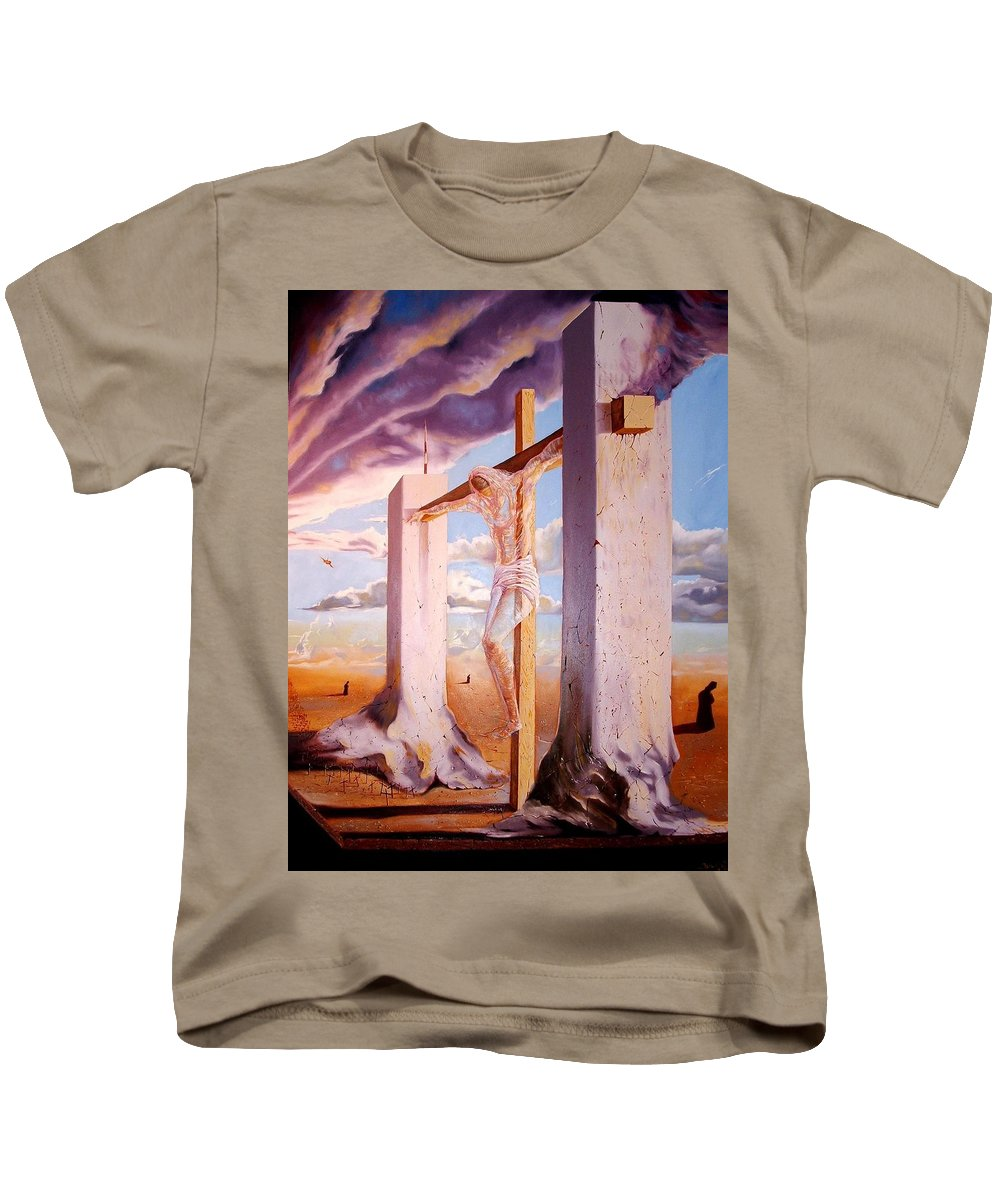 911 Kids T-Shirt featuring the painting The Pain Holder by Darwin Leon