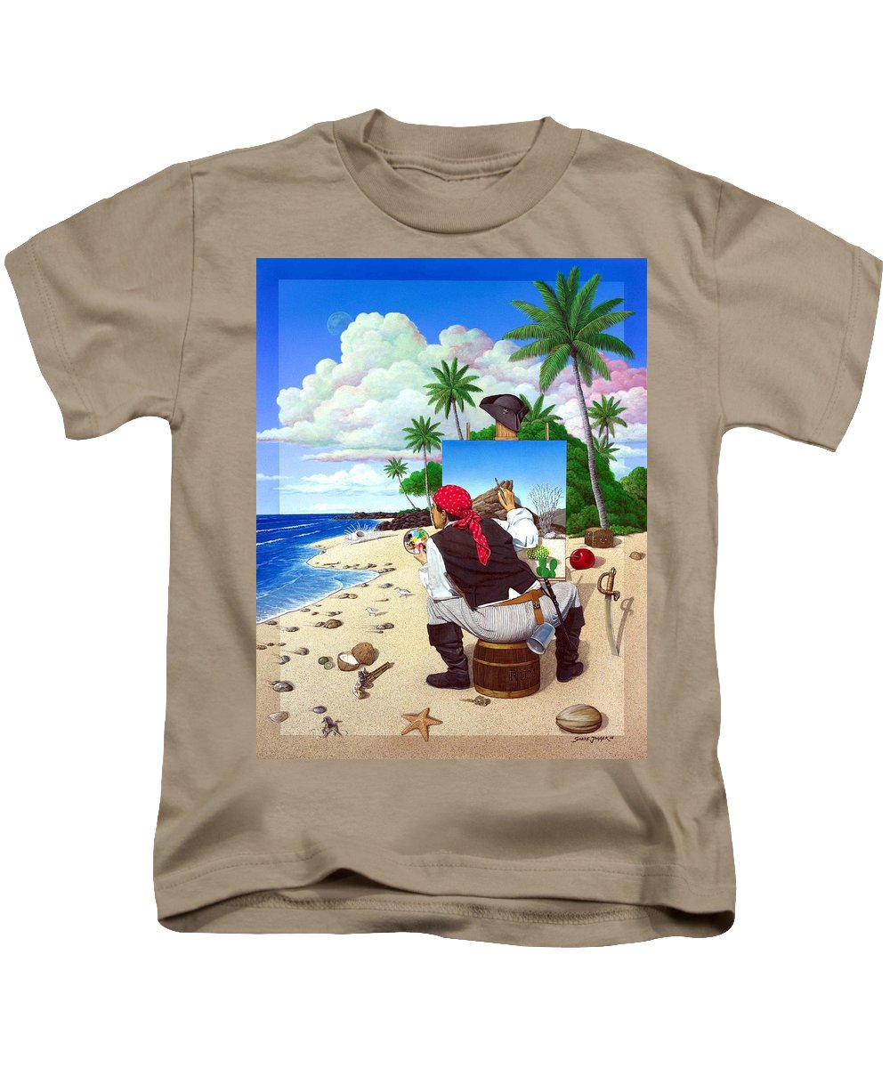 Pirate Kids T-Shirt featuring the painting The Painting Pirate by Snake Jagger