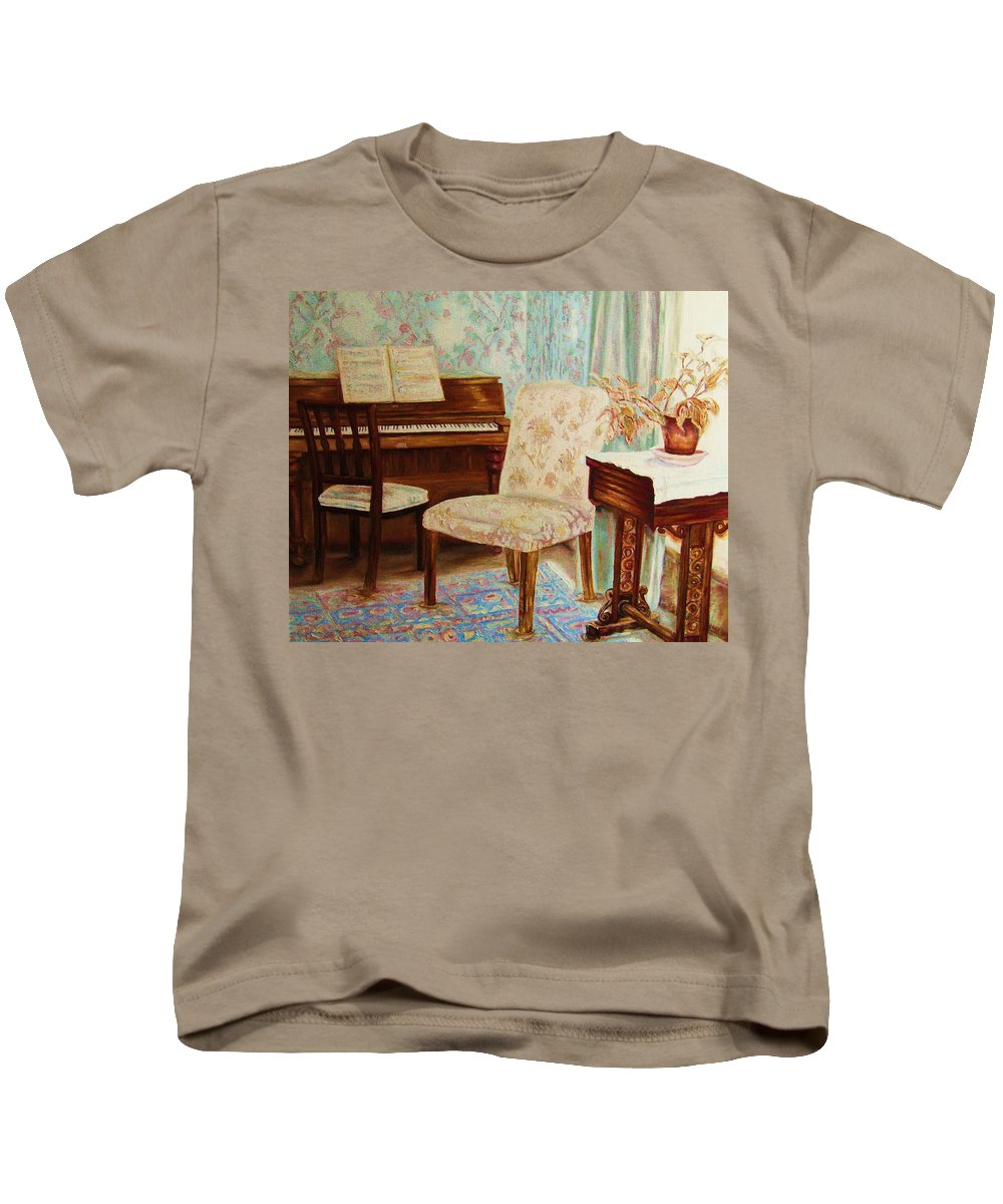 Iimpressionism Kids T-Shirt featuring the painting The Piano Room by Carole Spandau