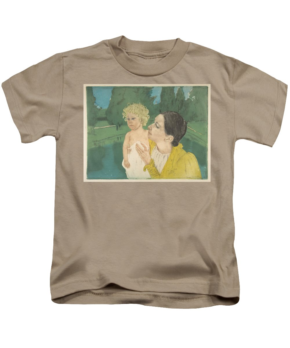 Mary Cassatt Kids T-Shirt featuring the painting the Pond by MotionAge Designs