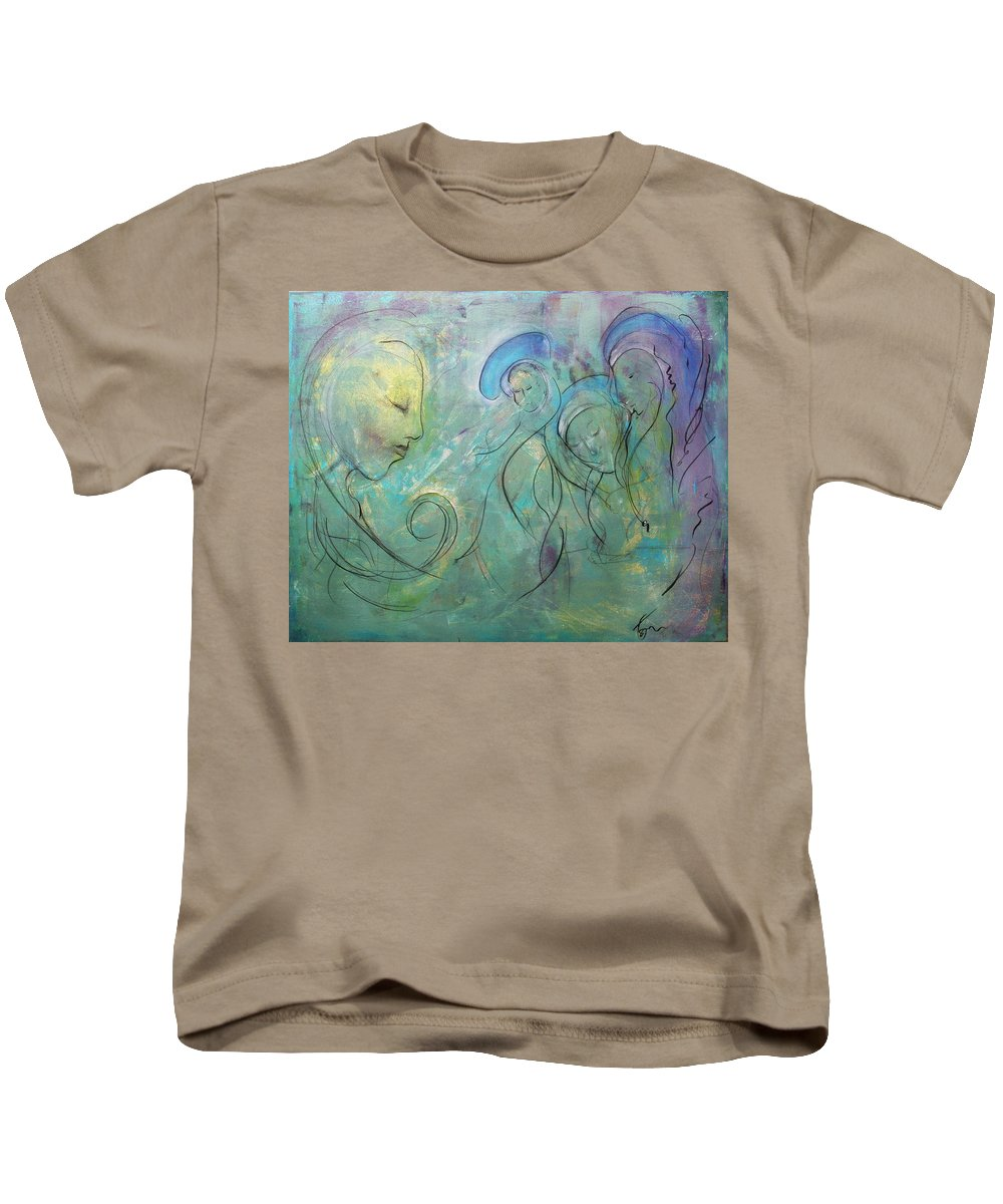 The Prayer Kids T-Shirt featuring the painting The Prayer by Thomas Voigt
