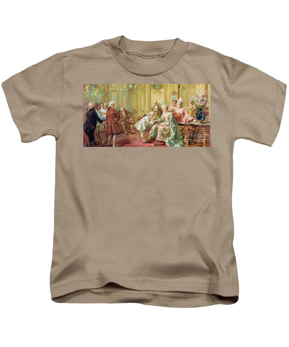 The Presentation Of The Young Mozart To Mme De Pompadour At Versailles In 1763 (colour Litho)wolfgang Amadeus Mozart (1756-91); Composer; Child Prodigy; Mozart Kids T-Shirt featuring the painting The Presentation Of The Young Mozart To Mme De Pompadour At Versailles by Vicente de Parades