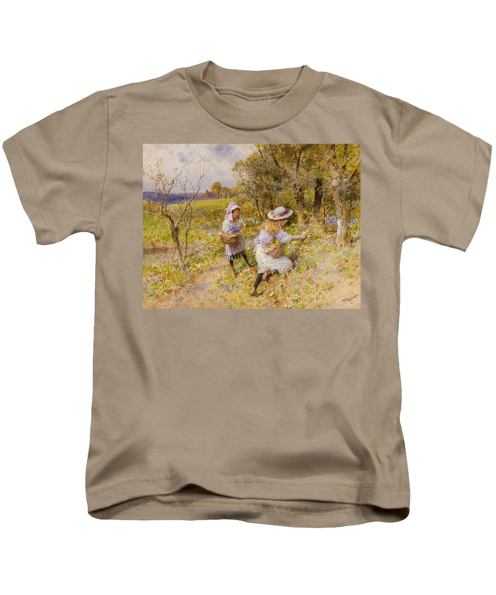 The Kids T-Shirt featuring the painting The Primrose Gatherers by William Stephen Coleman