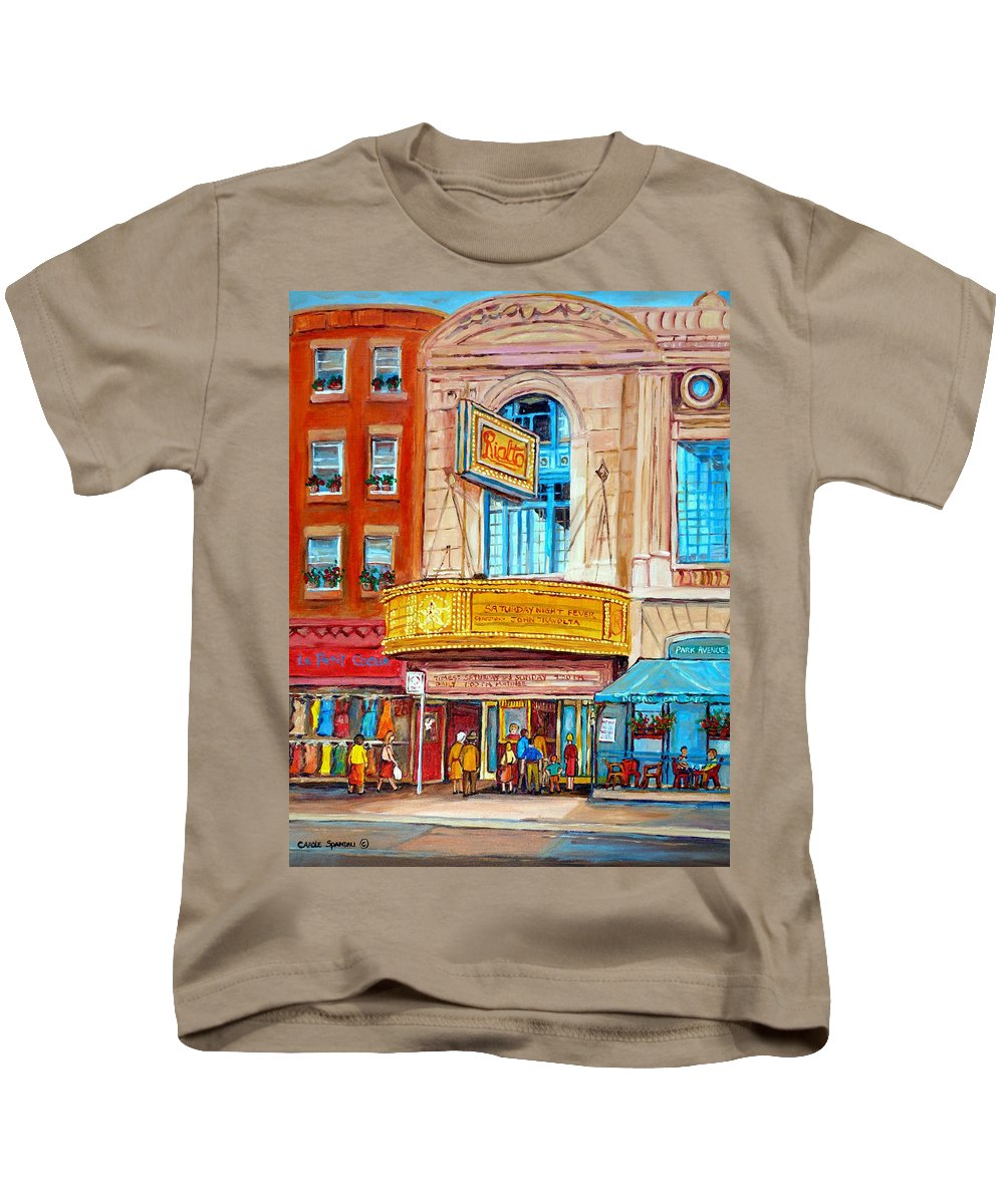 Montreal Kids T-Shirt featuring the painting The Rialto Theatre Montreal by Carole Spandau