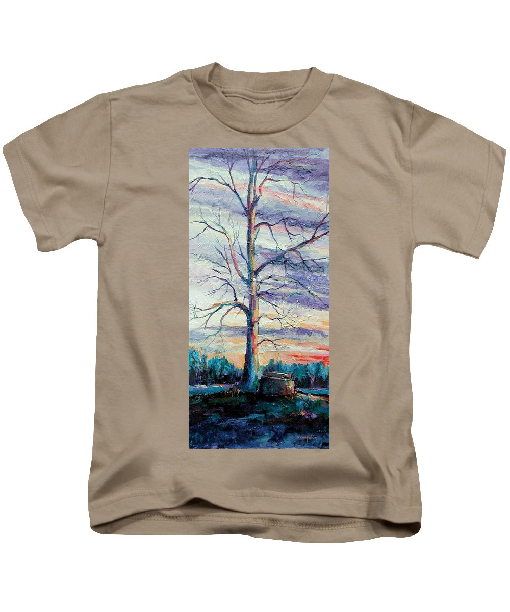 Lone Tree Kids T-Shirt featuring the painting The Sentinel by Ginger Concepcion