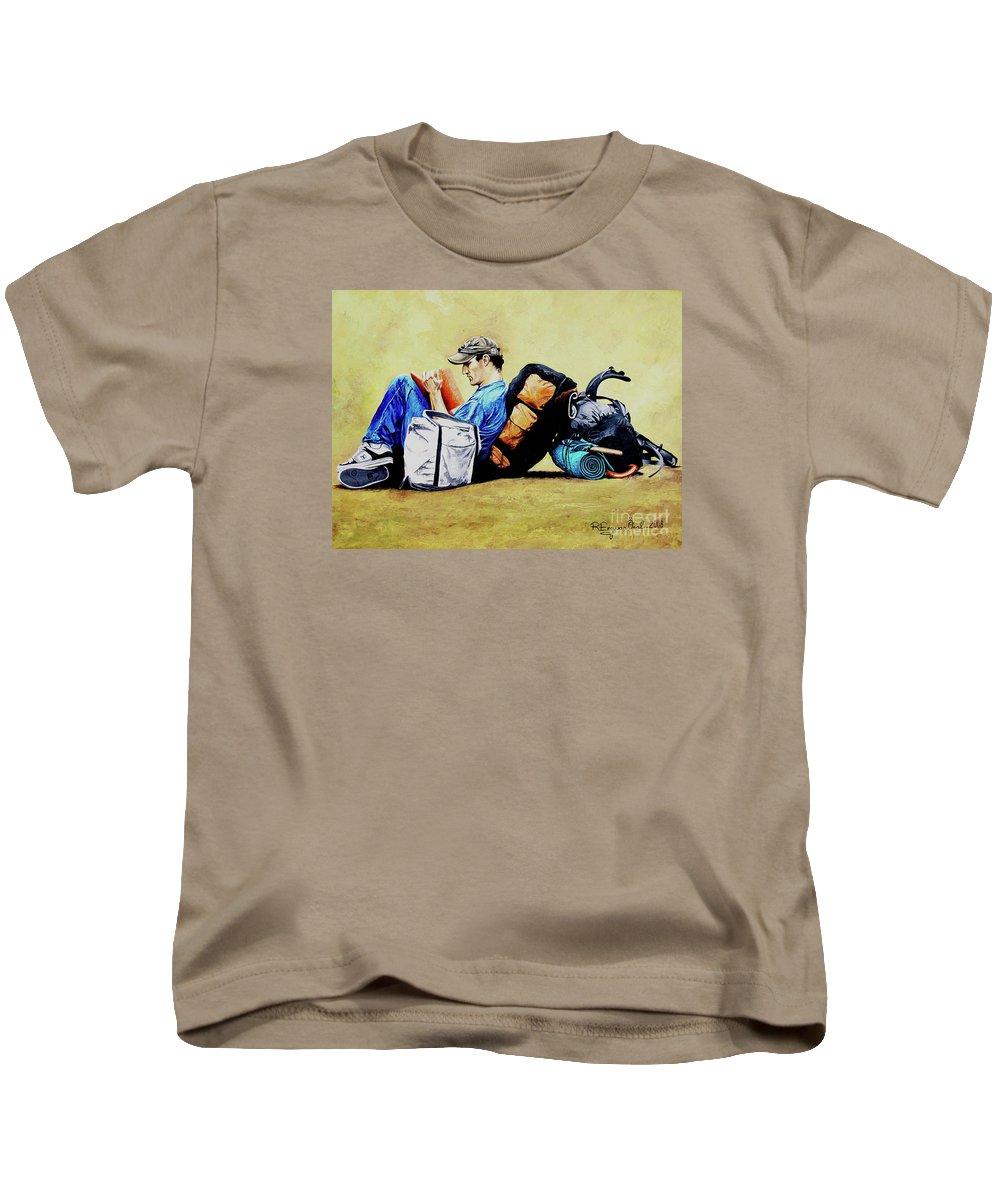 Travel Kids T-Shirt featuring the painting The Traveler 2 - El Viajero 2 by Rezzan Erguvan-Onal