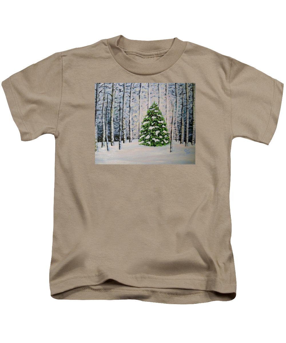Winter Kids T-Shirt featuring the painting The Tree by Cami Lee