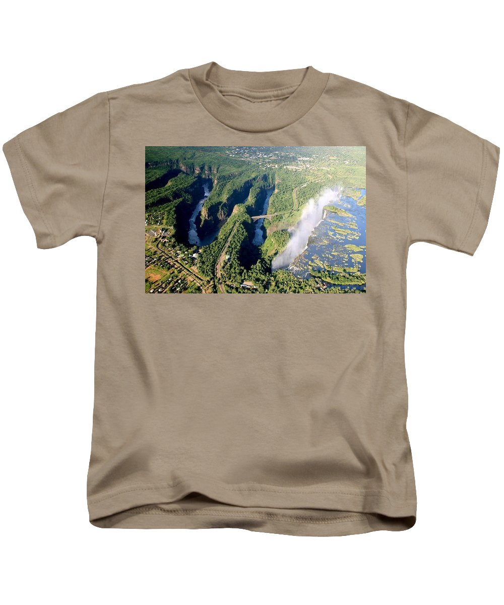 Landscape Kids T-Shirt featuring the photograph The Vic Falls Gorge by Nhlanhla