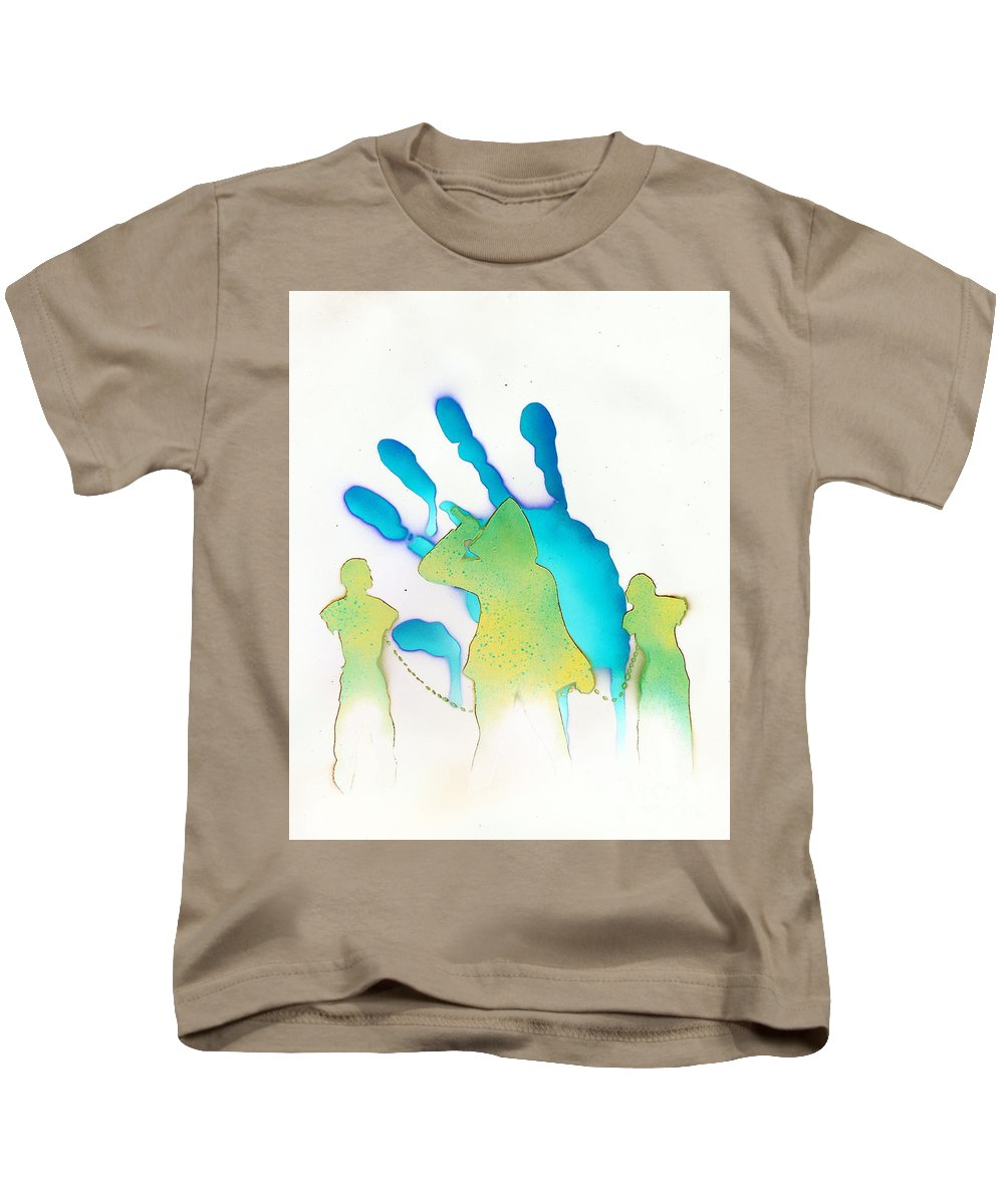Justin Moore Kids T-Shirt featuring the painting The Walking Dead White by Justin Moore