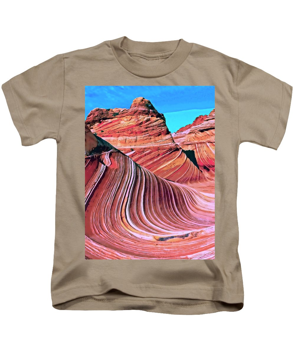 The Wave Kids T-Shirt featuring the mixed media The Wave 2 by Dominic Piperata