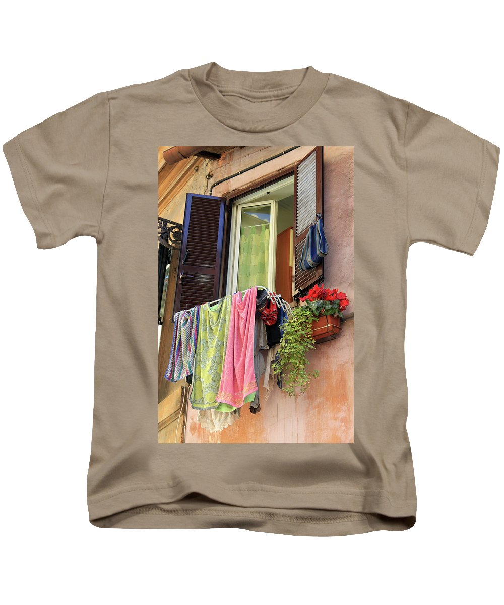 Dryer Kids T-Shirt featuring the photograph The Wet Clothes by Munir Alawi