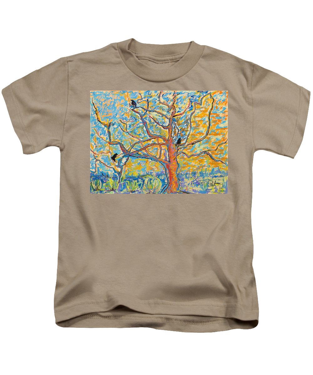 Abstract Painting Kids T-Shirt featuring the mixed media The Wind Dancers by Pat Saunders-White