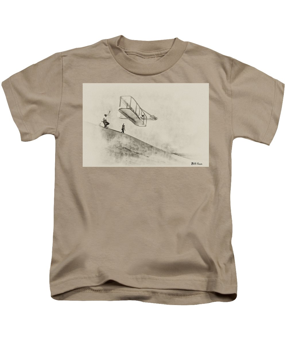 Wright Brothers Kids T-Shirt featuring the photograph The Wright Brothers At Kittyhawk by Bill Cannon
