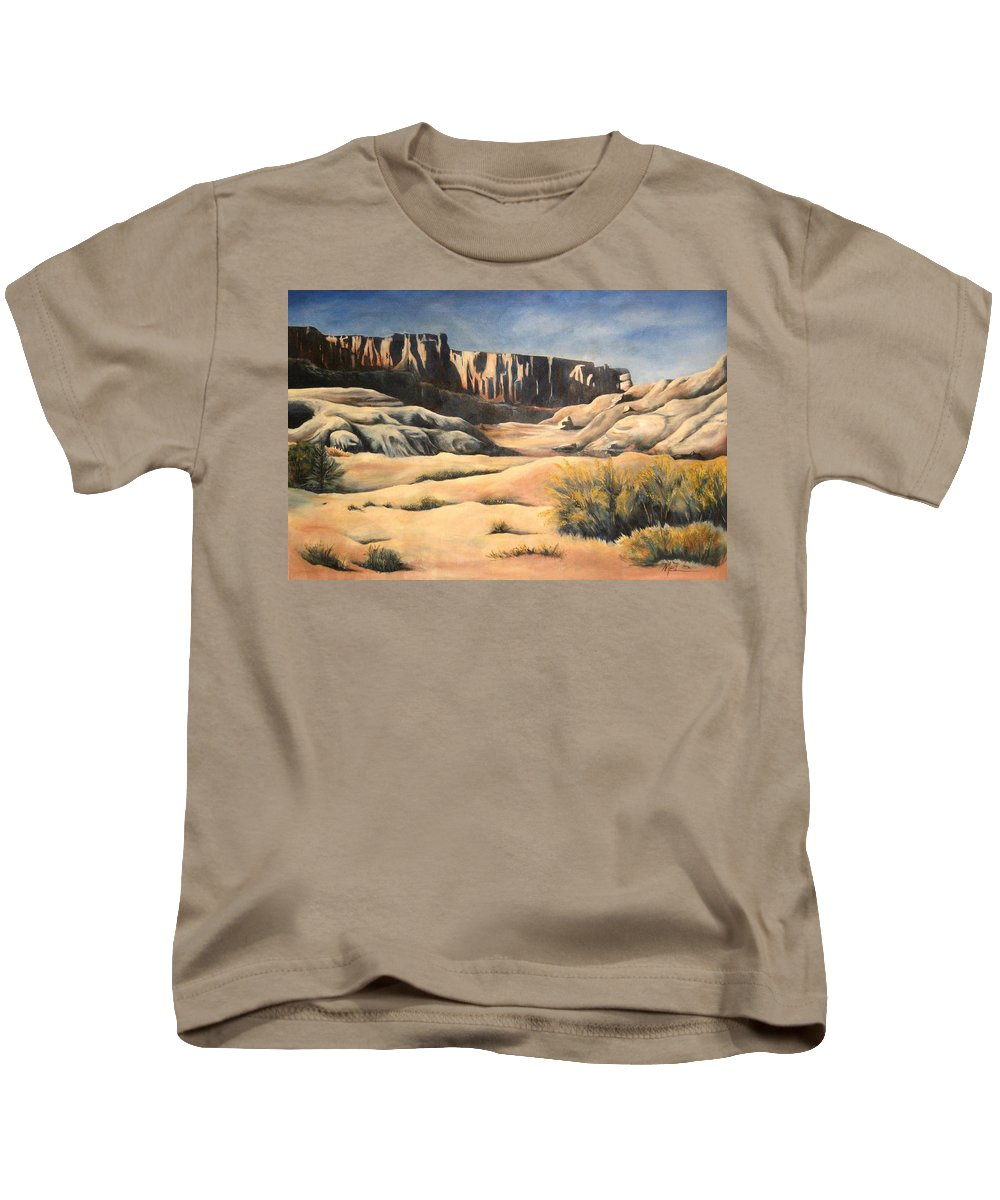 Landscape Kids T-Shirt featuring the painting There by Melody Horton Karandjeff