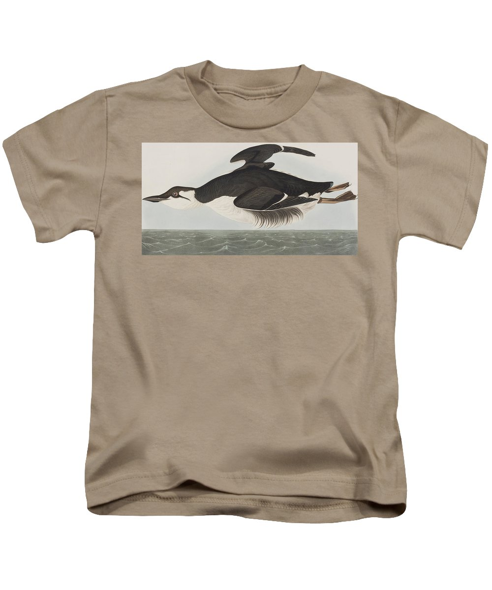 Murre Kids T-Shirt featuring the painting Thick-billed Murre by John James Audubon