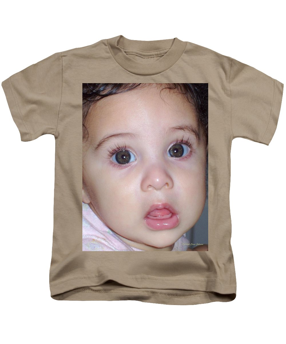 Deborah Crew-johnson Kids T-Shirt featuring the photograph Those Eyes by Deborah Crew-Johnson