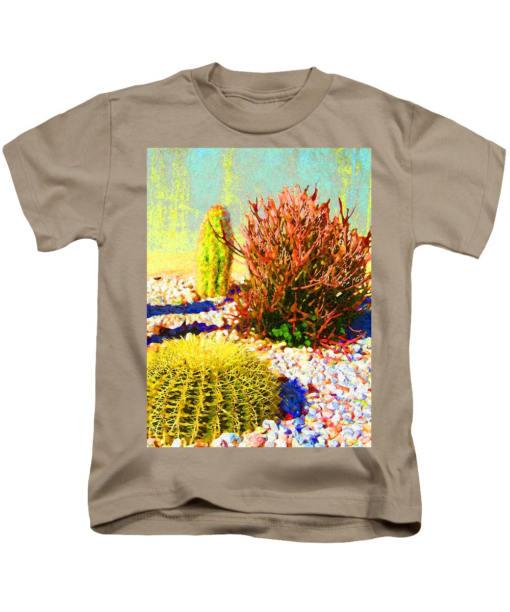 Landscape Kids T-Shirt featuring the painting Three Cacti by Amy Vangsgard