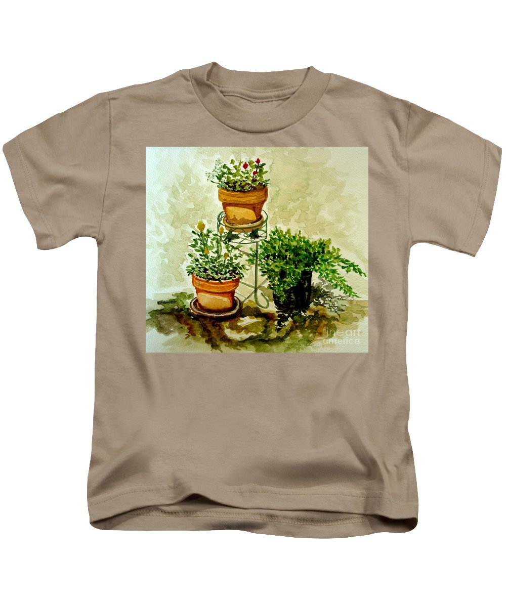 Plants Kids T-Shirt featuring the painting Three Potted Plants by Elizabeth Robinette Tyndall