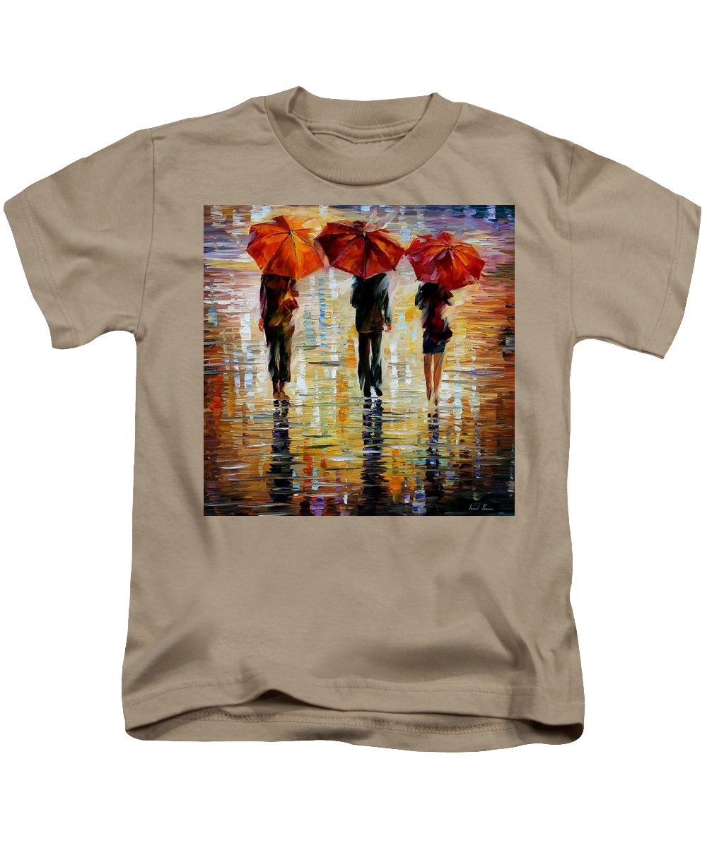 Cityscape Kids T-Shirt featuring the painting Three Red Umbrella by Leonid Afremov