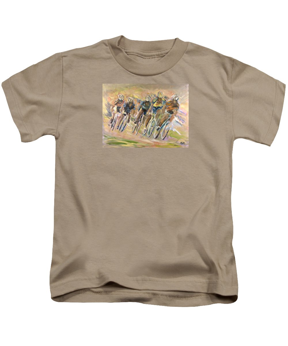 Cyclists Kids T-Shirt featuring the painting Thrill Of The Chase by Jude Lobe