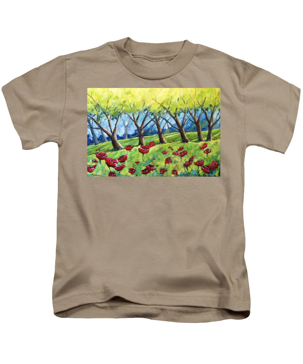 Landscape Kids T-Shirt featuring the painting Through The Meadows by Richard T Pranke